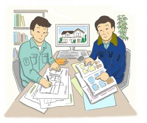 施工打合せ 現場施工管理者と建築士で入念な打合せをし、施工図を作成し工事依頼をします。